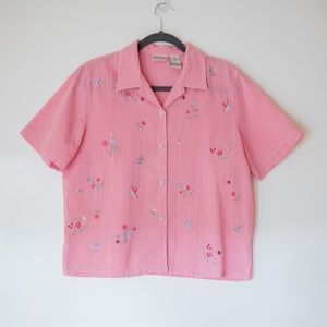 Koret Francisca Button Down Embroidered Shirt M